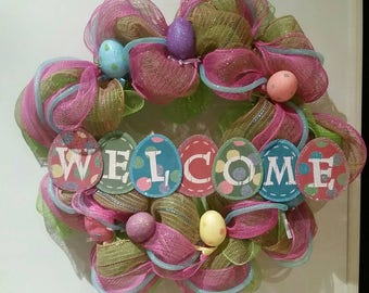 Welcome Happy Easter Eggs Pink purple Pastel Deco Mesh Ribbon Wreath