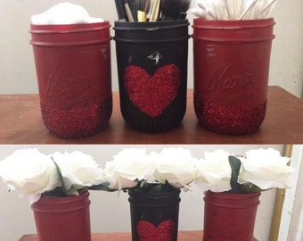 Distressed Red and Black Glitter Mason Jars