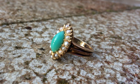Victorian 18 Kt gold turquoise and pearl ring.