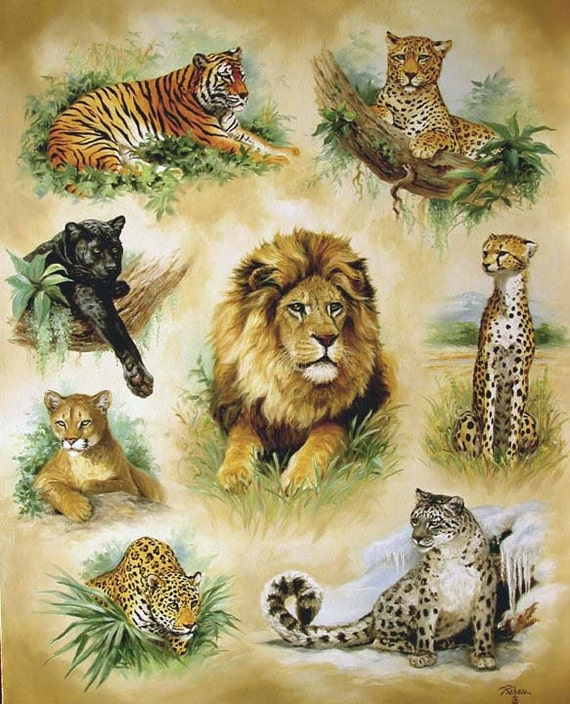 Cross stitch cat - Cross stitch pattern - Lion, pantera, jaguar, tiger - Cross stitch animal - Wildlife cross stitch design - Printable PDF