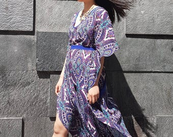 Poncho crepe with sleeve butterfly, crepe print kaftan, long poncho