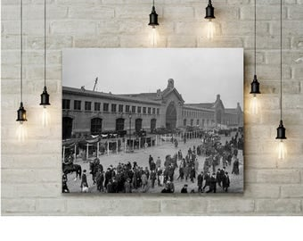 Cunard Pier Photo, 1900, New York, Chelsea Piers NY, Hudson River NY, Wall Decor, Titantic, Lusitania, Home Decor, black white photography,