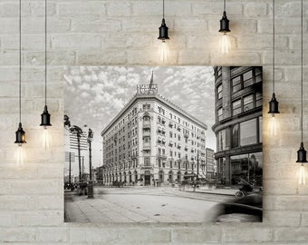 Historic Buffalo NY Photo, Lafayette Hotel, Washington Street, Buffalo, New York State, Black White Photography, Wall Art, Poster Art, 1905