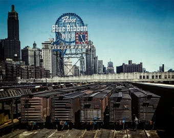 Chicago Photo, Pabst Blue Ribbon Beer, Chicago Illinois, Illinois Central Railroad,  South Water Street, Industrial Decor, City Wall Art