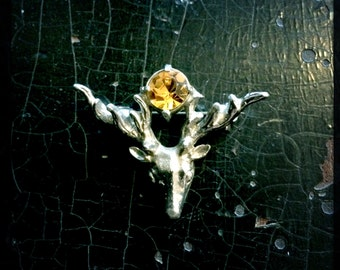 SALE - Vintage Scottish Brooch | Deer Head |Stag Head | Mizpah Brooch | Yellow Stone