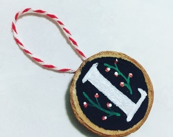 Hand Painted, Hand Lettered Birch Slice Christmas Ornament