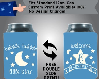 Twinkle Twinkle Little Start Initial Name Collapsible Fabric Baby Shower Can Cooler Double Side Print (BS1)