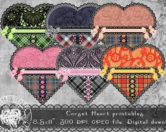 Printable Valentine Tags, Digital Valentine Tags, Printable Hearts, Digital Hearts, Gift Tags, Printable Collage Sheet