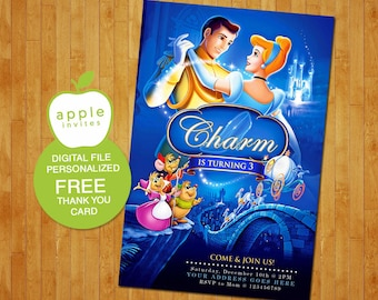 Cinderella Invitation, Cinderella Birthday, Cinderella Party, Cinderella, FREE Thank you Card!