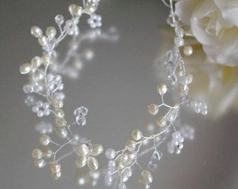 Ivory Pearl and Crystal Hair Vine/Accessory Various Lengths  Wedding Prom Party