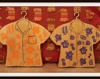 Set of 2 Wooden Hawaiian Shirts, Pineapple Shirt Hangers, Wood Shirt Hangers, Pineapple, Flowers, Hawaii