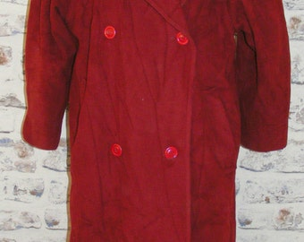 Size 14 vintage 80s puff sleeve double breasted maxi winter coat dark red (C008)