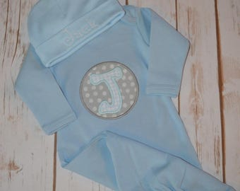 Baby Boy Gown- Newborn- Initial- Portion of sales donated to Cure SMA