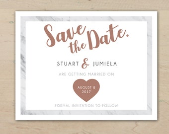Save the Date Wedding Cards with Envelopes | Marble with Rose Gold Premium | Modern Custom Invitation