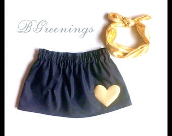Black and gold skirt, black and gold baby skirt, black and gold toddler skirt, gold heart skirt, gold baby skirt, gold toddler skirt, black