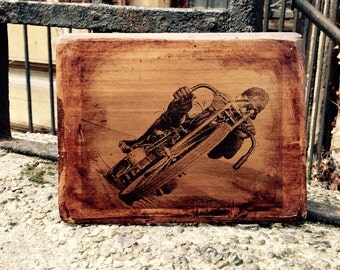 Motorcycle Board Track Racer Vintage Picture Wooden Picture Home Decor Wall Decor