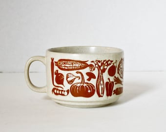 Vintage Large Mug Soup Mug Vegetables Brown Tan Earth Colors Garden Motif Over Sized Coffee Mug