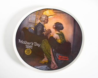 Vintage Mother's Day Plate 1981 Edwin M Knowles Norman Rockwell After The Party Collectible Numbered Plate Grandmother Gift Mother Gift