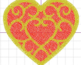 Legend of Zelda SS Heart Container Applique Embroidery Design w/Fill