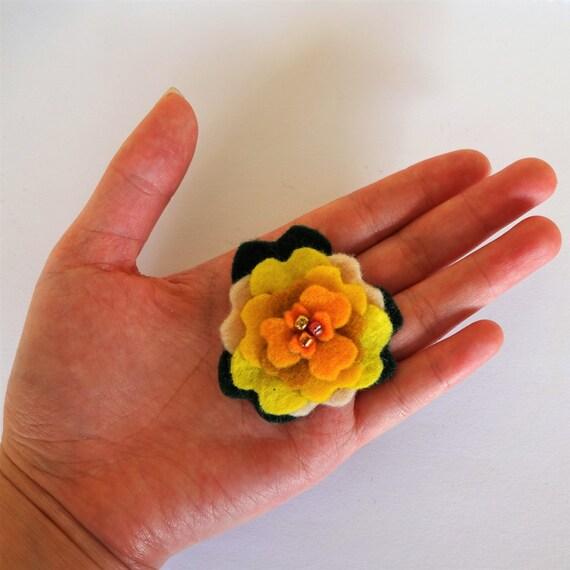 Yellow Saffron Dahlia Brooch