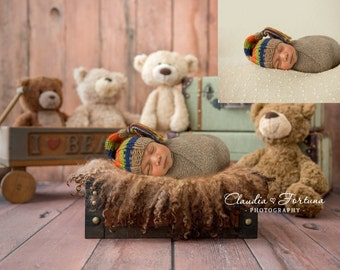 Newborn Digital Backdrop, Vintage Bears Backdrop , DIGITAL BACKDROP/BACKGROUND