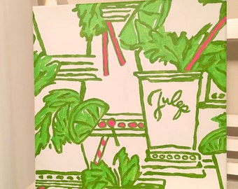 Just Add Mint Lilly Pulitzer Inspired 12 x 12 Handpainted Canvas