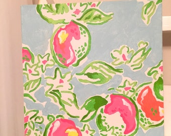 Pink Lemonade Lilly Pulitzer Inspired 12 x 12 Handpainted Canvas