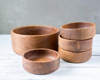 5 Piece Wood Teak Bowl Salad Set-Food Photography Props