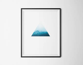 Foggy trees wall art. Forest fog and geometry poster.
