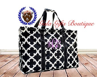 Black and White, Extra Large Utility Tote, Quatrefoil, Carryall Tote, teacher bag, beach bag, diaper bag, weekend bag, summer tote, trip bag