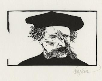 "LEONARD BASKIN (American, 1922-2000), ""Theodule Ribot"", 1969, original woodcut, pencil signed"