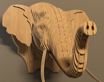 Elephant head 3D  puzzle-animals ,CNC ,decoration,decorative  ,head ,interior,dxf file ,toy ,trophy ,wall ,wood, wooden vector graphic,laser