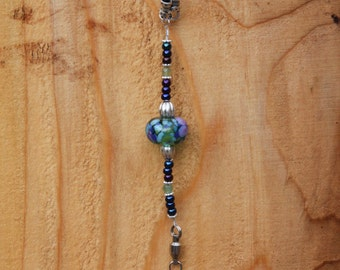 Leather lanyard with lamp work feature bead