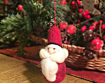 Handmade needle felted Santa ornament/can be personalized