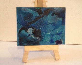 Desk Size Abstract Painting, Meditation, Mixed Media on Tiny Canvas, Wooden Easel, Glittery Shimmer, Landscape and Seas, Blue and Greens,