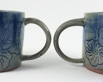 Best Friend Celadon and Cobalt Floral Ceramic Mugs