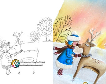 printable coloring page : my friend Rudolph