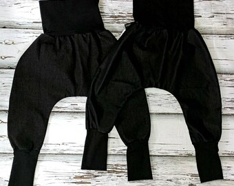 Sarouel harems scalable 2 - 5t black jeans and fake black lightweight jeans band Black goes everywhere harem pants