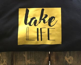 Lake Life Crewneck Sweater w/ metallic gold print