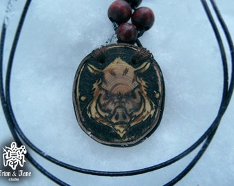 Talisman/ amulet/ pyrography/ handmade/ Amulet made of wood/ Boar / Wild Boar/ North /Pyrography art/ Woodburning