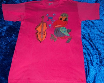 T-Shirt for kids 12/14 years, drawn pattern by hand, bird and violin, animals, music