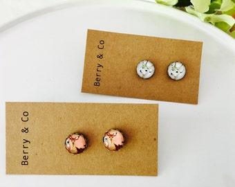 Vintage Deer Glass Earring Studs- Free shipping