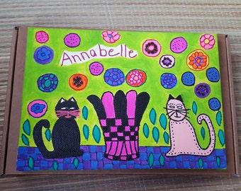 Personalized children painting on canvas.Children wall art,children decor,nursery decor. Kids gift,cats art.