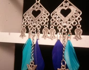 Earrings at Blue feathers with roses and Butterfly charms