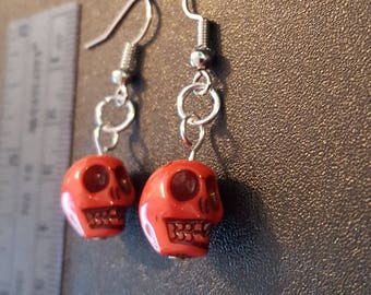 Pink acrylic skull beaded drop dangle earrings with silver detail