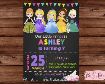 Princess Invitation - Princess Birthday Invitation - Princess Birthday - Disney Princess Invitation - Disney Princess Invite - PRINCESS.