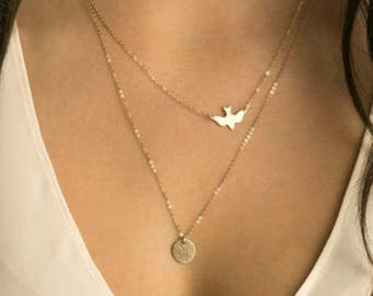 Bird Necklace Gold Plated | Silver Bird Necklace | Bird Layered Necklace | Disc Necklace | Silver Disc Necklace | Dove Necklace