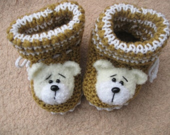 Booties. Knitted shoes for kids. Shoes for newborns.