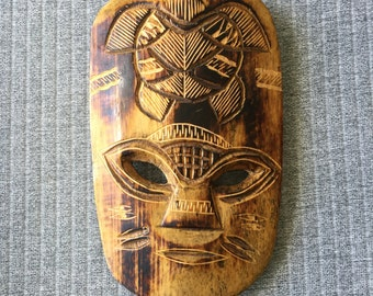 Small Retro Carved Tiki Mask Wall Hanging Burnt Etched Timber Polynesian 15cm x 10cm