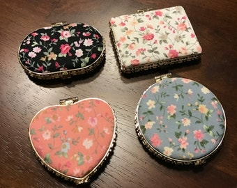 Chinoiserie Cloth Cover Retro Flower Compact Mirror/Folded Mirror/Pocket Mirror